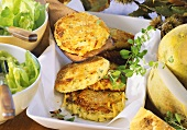 Turnip and potato burgers with marjoram and lettuce