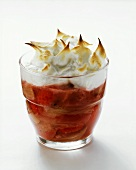 Rhubarb mousse with meringue topping in glass