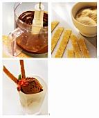 Making chocolate ice cream with sweet tortilla sticks