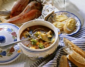 French fish soup (Bouillabaisse) and aioli baguettes