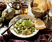 Middle Eastern vegetable plate with flat bread & artichokes