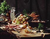 Still life with game, onions, carrots & apples