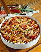 Finely chopped turkey with peppers, sweetcorn, sprouts in pan