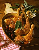 Pollo alla lucchese (Chicken legs with olives and sage)