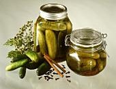 Gherkins in two pickling jars