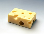 A piece of Emmenthal cheese