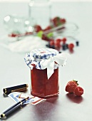 Strawberry and raspberry jam in a jar; Labels; Fountain pen