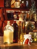 Various preserving jars, sausages, oils etc, in pantry