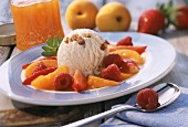 Walnut ice cream with apricot and berry mousse