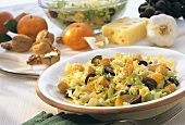 Endive salad with fruit, cheese and croutons