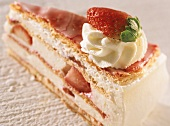 A piece of puff pastry gateau with yoghurt & strawberry filling