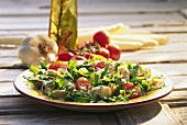Rocket salad with asparagus tips and cherry tomatoes