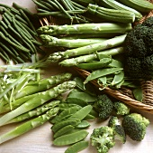 Green vegetables: asparagus, broccoli, mangetouts, beans
