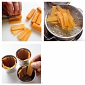 Cutting and cooking carrots and putting into timbale moulds
