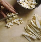 Dicing celeriac sticks