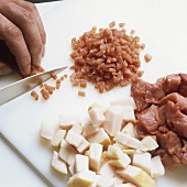 Dicing meat and ham