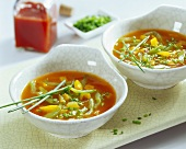 Spicy cucumber soup with paprika and chives
