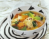 Wan tan soup with spinach and carrots