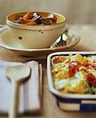 Spezzatino con patate; Gattò (goulash; potato bake)
