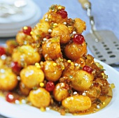 Struffoli (deep-fried pastry balls with candied fruit)