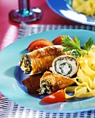 Veal rolls with spinach and ribbons