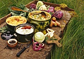 Various kohlrabi dishes in a meadow
