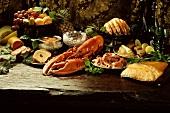Buffet with lobster, raw ham, caviare, fish, fruit etc