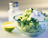 Cucumber salad with yoghurt dressing and dill