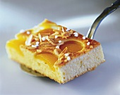 A piece of apricot cake with flaked almonds and sugar