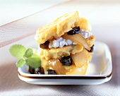 Corn cakes with onion confit and prunes