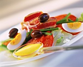 Salade Nicoise mit Thunfisch, Oliven, Tomaten und Ei