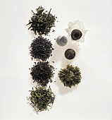 Green tea (various types of tea leaves)