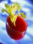 Tomato juice with celery in a glass