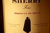 Spanish sherry in bottle (detail: label)