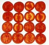 Tomato slices, arranged in a square