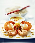 Asian shrimps with coconut curry sauce and rice