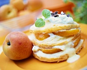 Choux pastry with apricots and cream