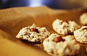 Hazelnut macaroons on baking paper