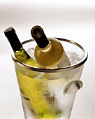 Two white wine bottles in ice bucket