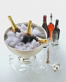 Equipment for wine pros: glasses, silver champagne bucket, wine