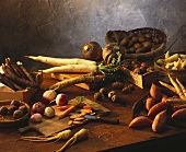 Root vegetable still life on rustic wooden table