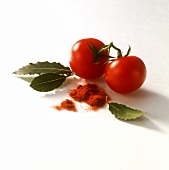 Tomatoes, bay leaves and paprika