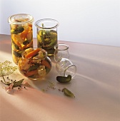 Pickled gherkins and mixed pickles in pickling jars