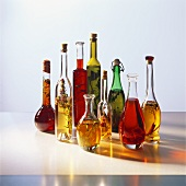 Various types of vinegar in bottles