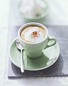 Cappuccino with cocoa powder in pale green espresso cup