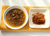 Canarian saffron sauce (Mojo de azafran) in bowl; saffron