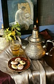 Arabian tea scene with sweet pastries