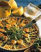 Asparagus quiche with shrimps in baking dish