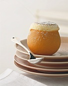 Orange soufflé in an orange