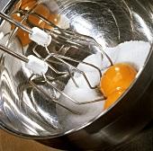 Beating egg yolk with sugar